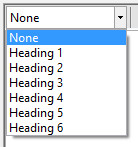 HTML Editor Heading selector dropdown options