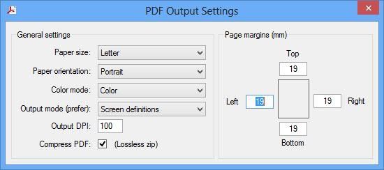 PDF Output setting dialog