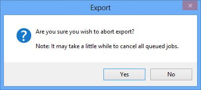 Abort Export confirmation dialog