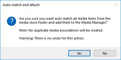 Auto match and attach to a from the media store confirmation dialog