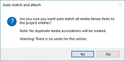 Auto match and attach confirmation dialog