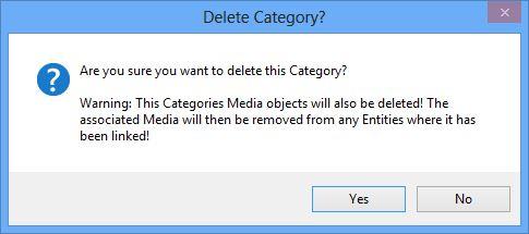 Delete Media Category confirmation dialog