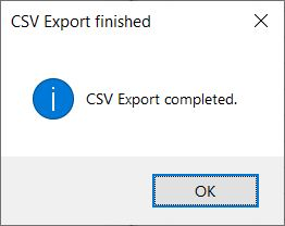 CSV Export finished dialog