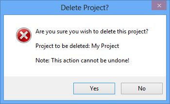 Delete project confirmation dialog