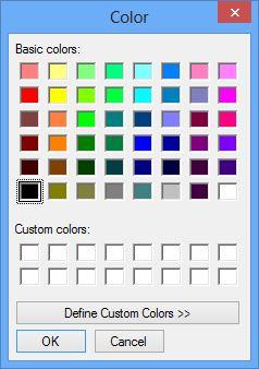 Font color dialog