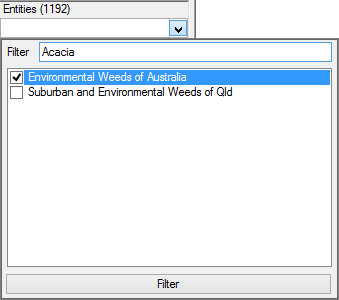 Entity Filter option expand showing example filtering by entity labels contain'Acacia' and via the Entity Subset 'Environmental Weeds of Australia'