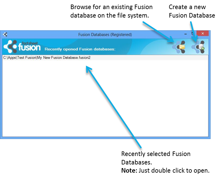 Fact Sheet Fusion database selection dialog