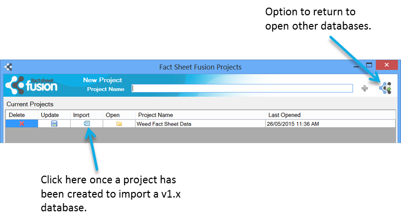 Fact Sheet Fusion database projects selection dialog