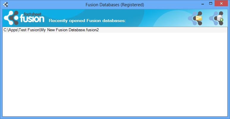 Fusion database selection dialog showing a recently used database