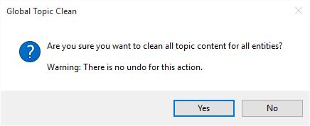 Global Topic Clean warning dialog