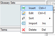 Glossary Sets context pop-up menu