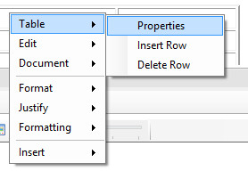 Table pop-up context menu