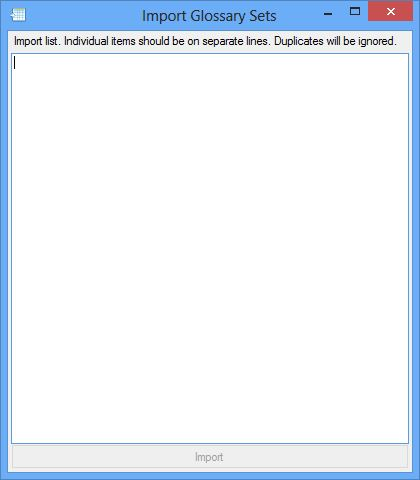 Import Glossary Sets dialog