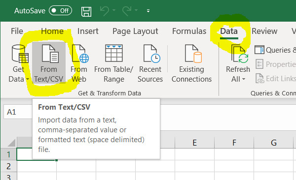 Loading CSV into Excel