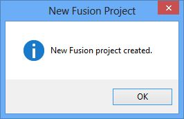 New Fusion project created confirmation