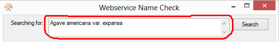 Name Check Web service search for name