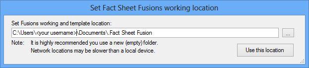 Set Fact Sheet Fusion working location