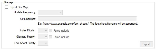 Site Map Options within the Advanced tab of the main fact sheet export dialog