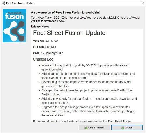 Fact Sheet Fusion Update interface