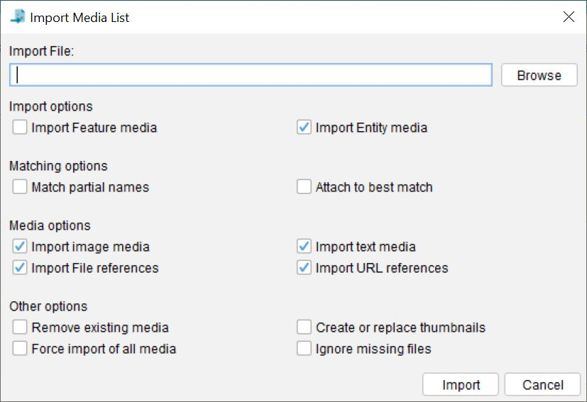 Lucid Builder Import Media List dialog