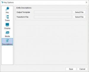 Lucid Builder Key Options dialog - Descriptions tab
