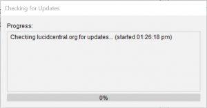 Lucid Builder Check for Updates progress dialog