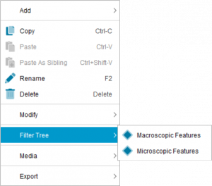 Lucid Builder Feature tree context pop-up Filter Tree sub menu