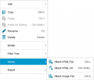 Lucid Builder Feature Tree context menu - Media Sub Menu.