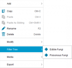 Lucid Builder Entities Tree context pop-up menu - Filter Tree sub menu