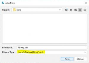 Lucid Builder Export Key File Browser dialog with Dataset XML type selected