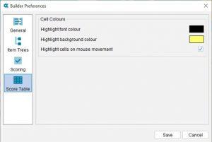 Lucid Builder Preferences dialog - Score Table options