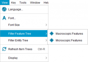 Lucid Builder View menu Filter Feature Tree sub menu
