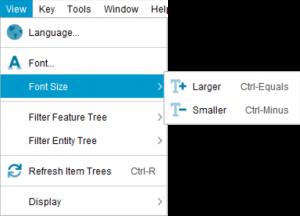 Lucid Builder View menu - Font Size sub menu
